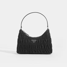 Load image into Gallery viewer, PRADA Ruched Hobo Bag in Black Nylon Front View