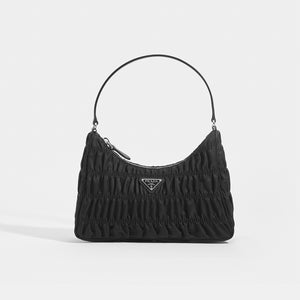 PRADA Ruched Hobo Bag in Black Nylon Front View
