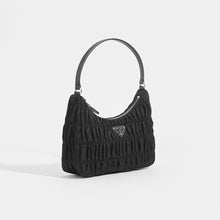 Load image into Gallery viewer, PRADA Ruched Hobo Bag in Black Nylon Side View