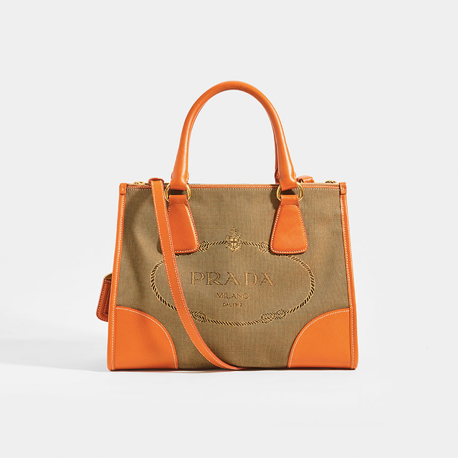 PRADA Vintage Galleria Saffiano Bag in Beige Canvas Leather