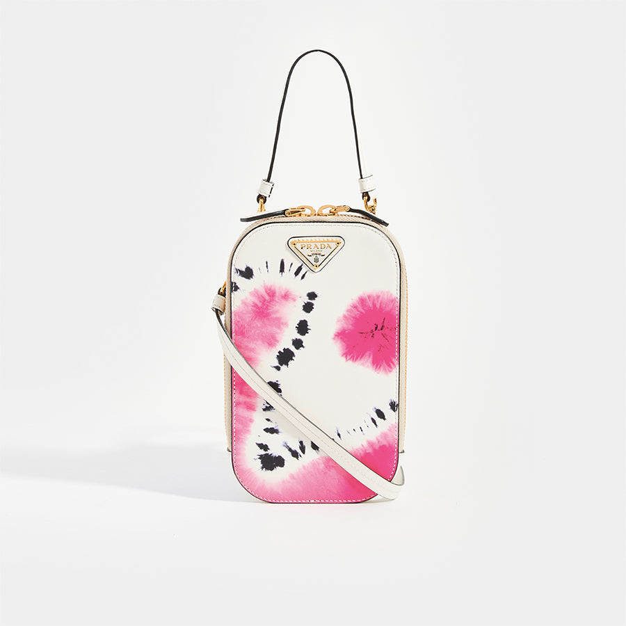 PRADA White Tie-Dye Mini Bag with pink, black and white detail