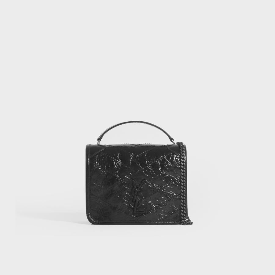 SAINT LAURENT Niki Vintage Leather Chain Wallet Bag in Black