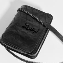 Load image into Gallery viewer, SAINT LAURENT Niki Vintage Leather Chain Wallet Bag in Black