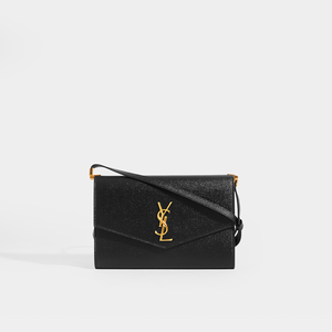 SAINT LAURENT Uptown Mini Crossbody in Black Grained Leather