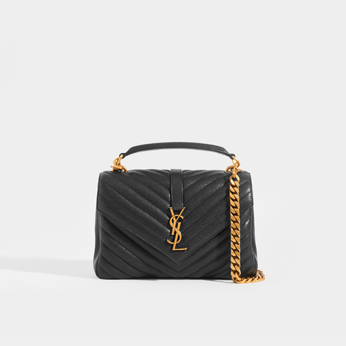 SAINT LAURENT College Monogramme Bag in Black Leather with Gold Hardware