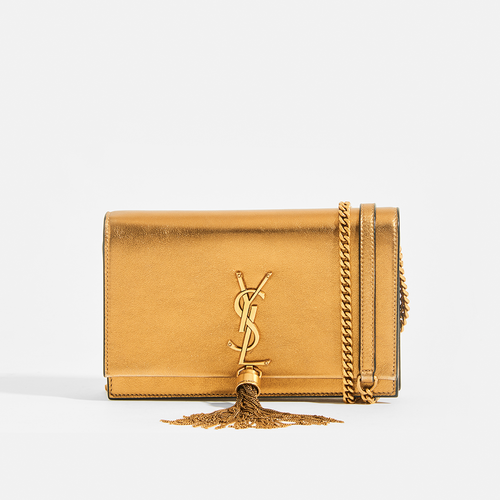 SAINT LAURENT Kate Monogram Metallic Leather Cross-Body Bag