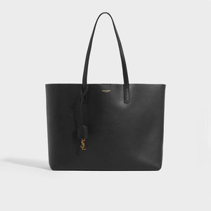 SAINT LAURENT Large Shopper Tote in Black Textured Leather