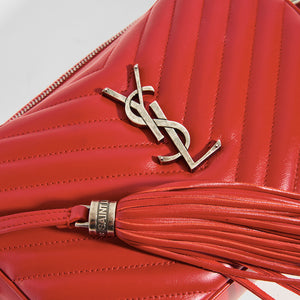 YSL Logo Metal Hardware Detail on the SAINT LAURENT Lou Camera Bag in Red Matelassé Leather