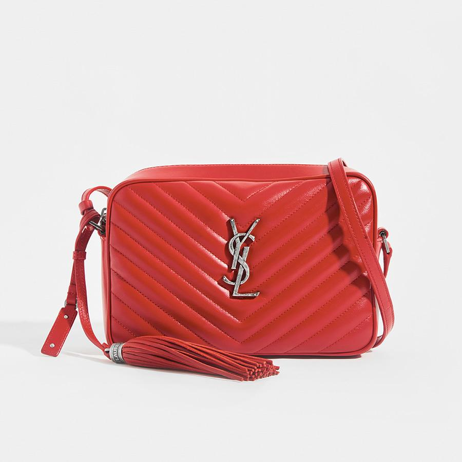 SAINT LAURENT Lou Camera Bag in Red Matelassé Leather
