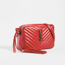 Load image into Gallery viewer, Side view of SAINT LAURENT Lou Camera Bag in Red Matelassé Leather