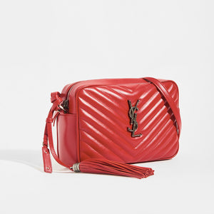 Side view of SAINT LAURENT Lou Camera Bag in Red Matelassé Leather