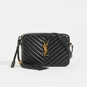 SAINT LAURENT Lou Camera Bag in Black Matelassé Leather with Gold Hardware and Tassel Details