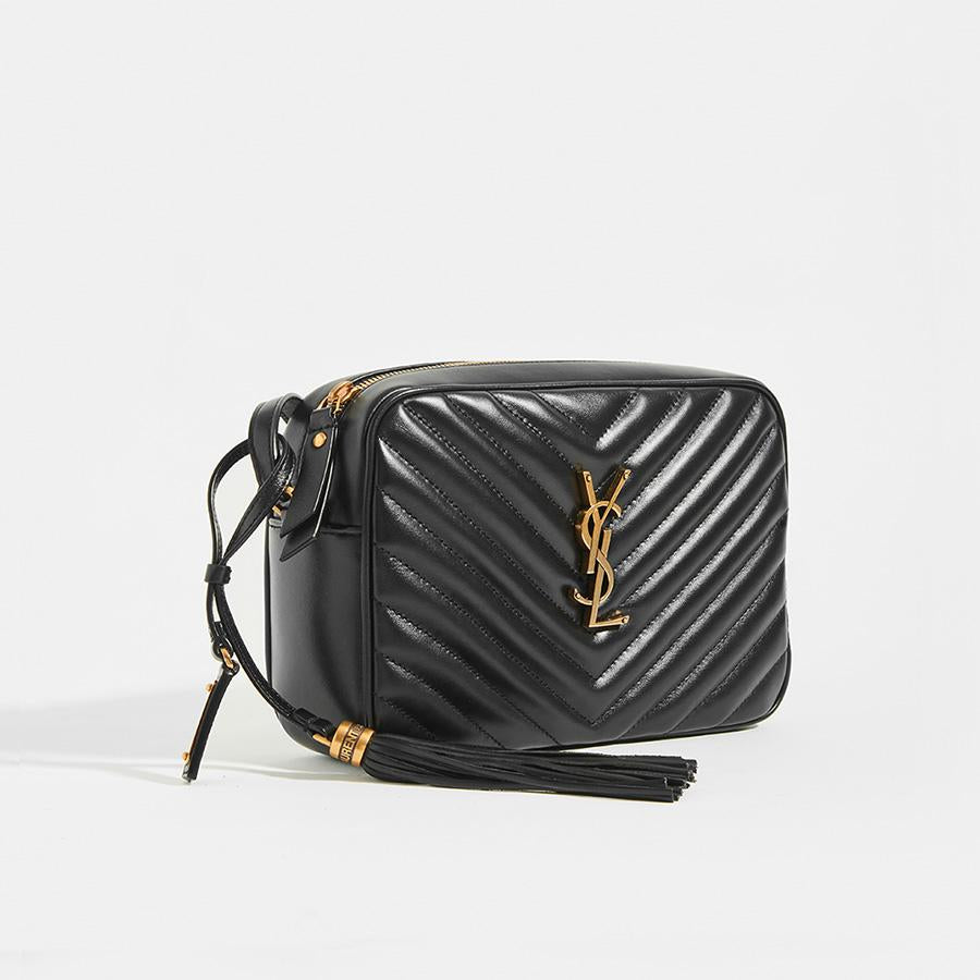 Side view of SAINT LAURENT Lou Camera Bag in Black Matelassé Leather with Gold Hardware