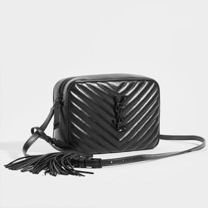 SAINT LAURENT Lou Quilted Cross Body Bag in Black Leather with Black Hardware