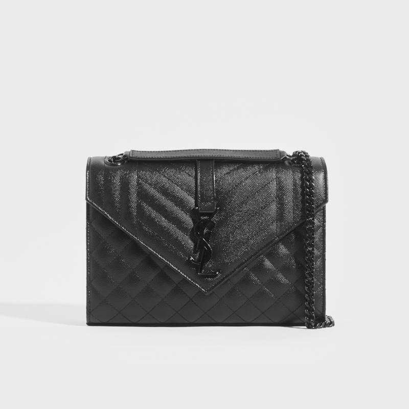 SAINT LAURENT Medium Quilted Textured-Leather Envelope Shoulder Bag in Black with Black Hardware