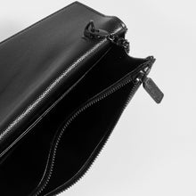 Load image into Gallery viewer, SAINT LAURENT Monogram Envelope Clutch Bag in Black Leather with Black Hardware