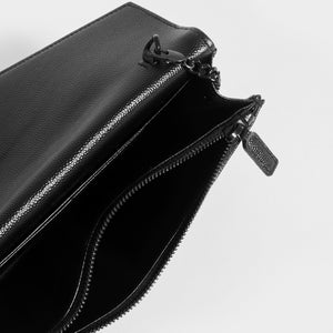 SAINT LAURENT Monogram Envelope Clutch Bag in Black Leather with Black Hardware