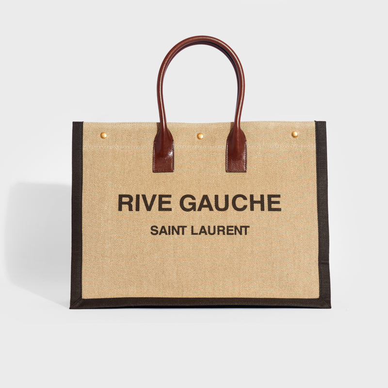 SAINT LAURENT Rive Gauche Leather-Trimmed Linen-Canvas Tote in Brown