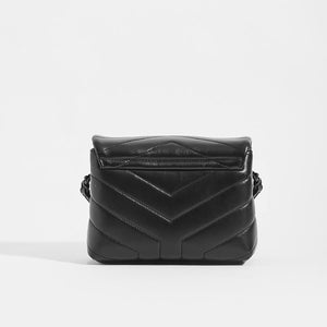 SAINT LAURENT Toy Loulou Shoulder Bag in Black Leather with Black Hardware