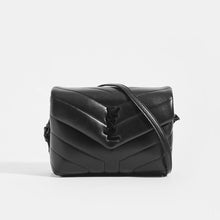 Load image into Gallery viewer, SAINT LAURENT Toy Loulou Shoulder Bag in Black Leather with Black Hardware