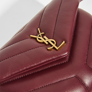 Gold YSL Hardware on SAINT LAURENT Toy LouLou Shoulder Bag in Dark Red Leather