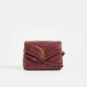 SAINT LAURENT Toy LouLou Shoulder Bag in Dark Red Leather