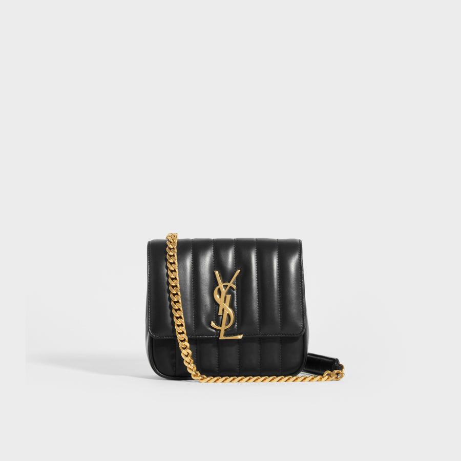 Front of SAINT LAURENT Vicky Smooth Leather Crossbody in Black