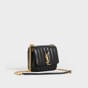 SAINT LAURENT Vicky Smooth Leather Crossbody in Black