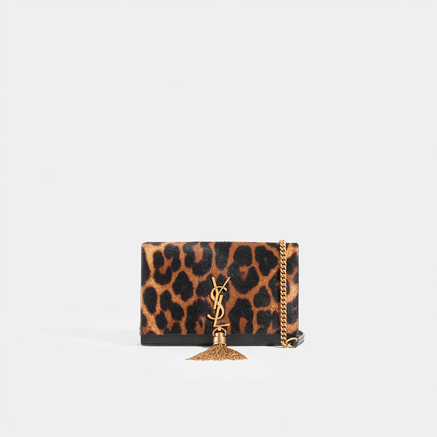 SAINT LAURENT Monogramme Kate leopard-print calf hair shoulder bag