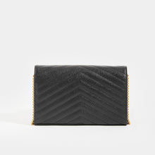 Load image into Gallery viewer, Rear of SAINT LAURENT Monogram Chevron-Quilted Cross-body in Black Leather