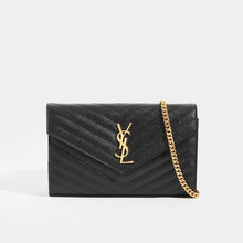 Load image into Gallery viewer, SAINT LAURENT Monogram Chevron-Quilted Cross-body in Black Leather