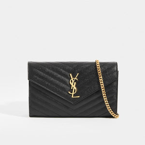 SAINT LAURENT Monogram Chevron-Quilted Crossbody in Black Leather