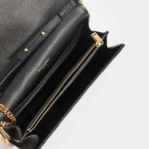 Inside of SAINT LAURENT Monogram Chevron-Quilted Cross-body in Black Leather