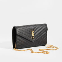 Load image into Gallery viewer, SAINT LAURENT Monogram Chevron-Quilted Cross-body in Black Leather with gold chain