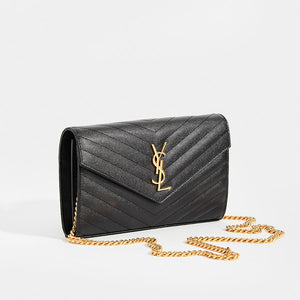 SAINT LAURENT Monogram Chevron-Quilted Cross-body in Black Leather with gold chain