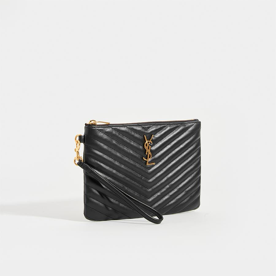 SAINT LAURENT Monogramme Quilted Pouch in Black Leather