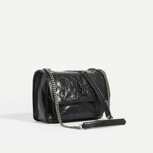 SAINT LAURENT Niki Baby in Crinkled Leather in Black