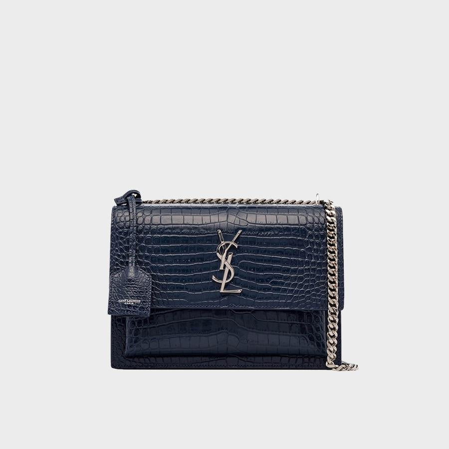SAINT LAURENT Navy Sunset Medium Croc-Effect Leather Shoulder Bag