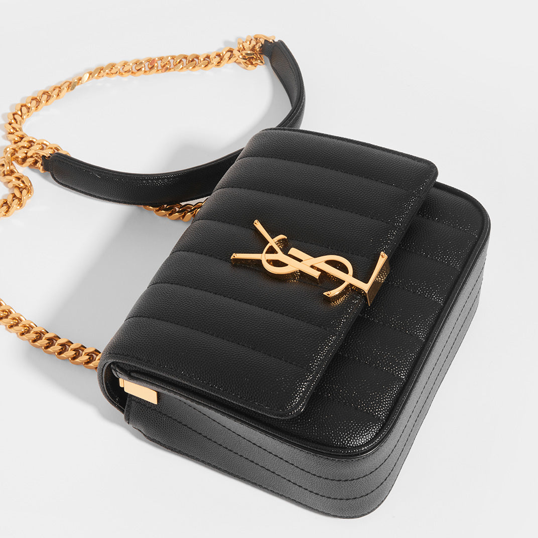 Top view of SAINT LAURENT Vicky Grained Leather Crossbody in Black