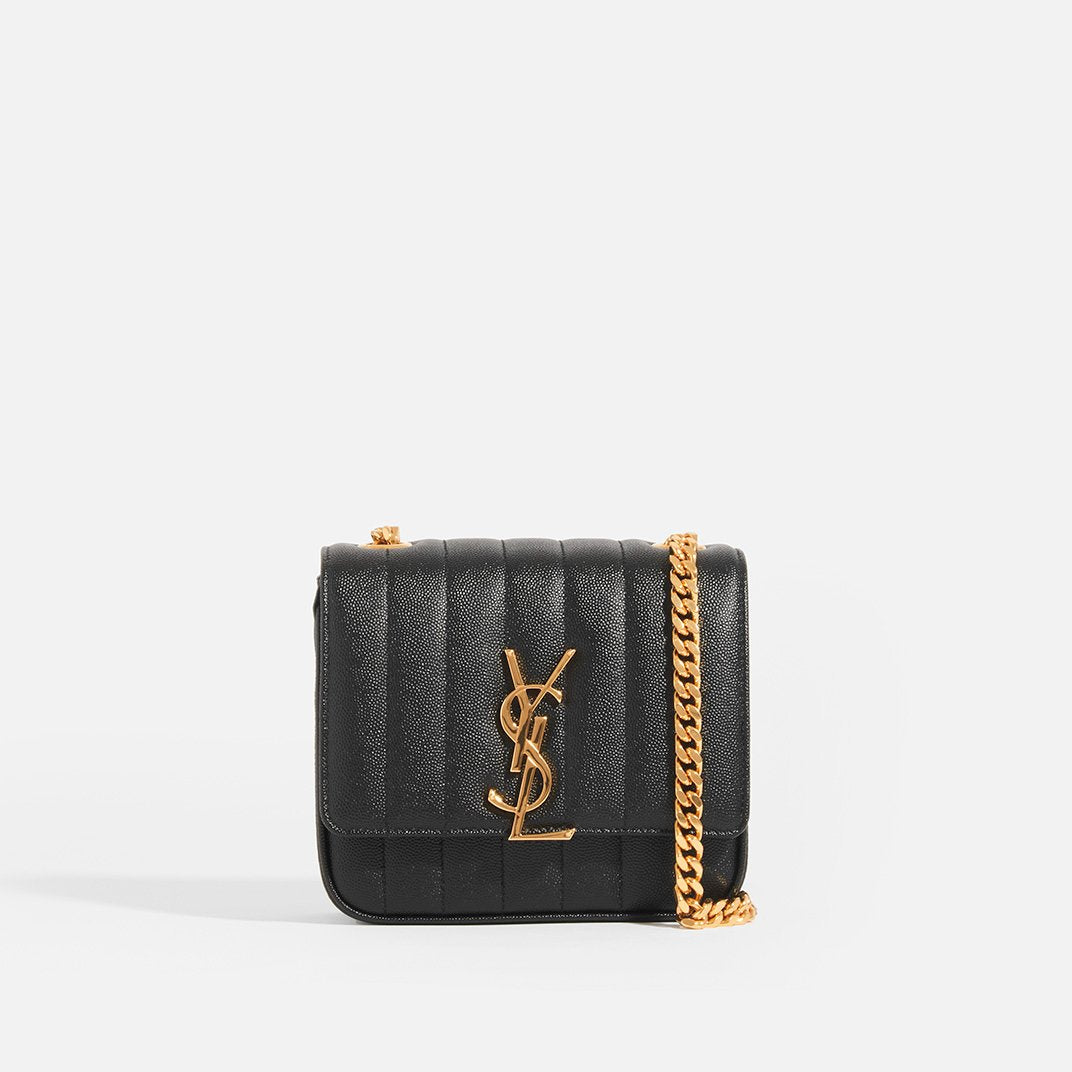 SAINT LAURENT Vicky Grained Leather Crossbody in Black with Gold Hardware and Gold Chain Crossbody Strap