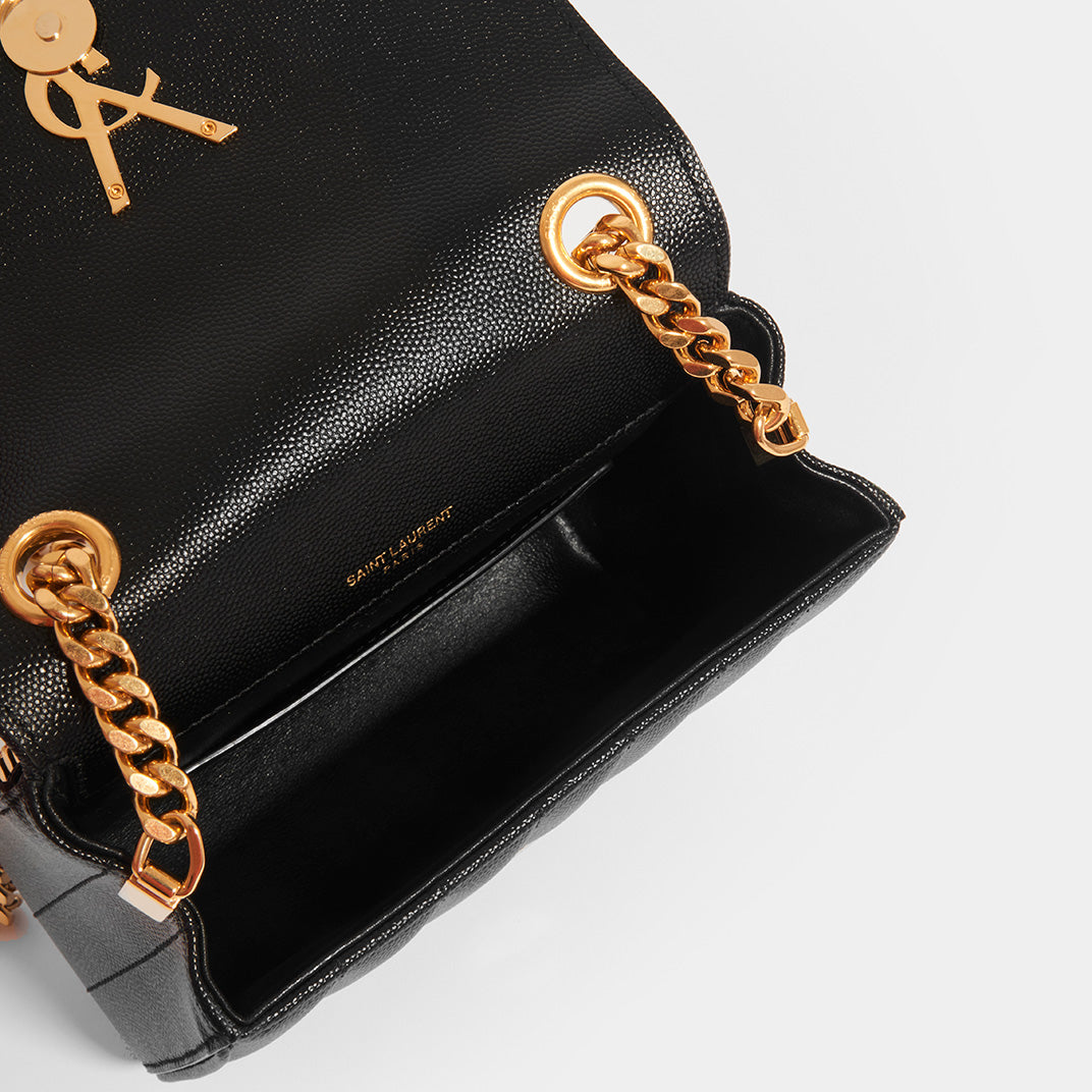 Inside of SAINT LAURENT Vicky Grained Leather Crossbody in Black