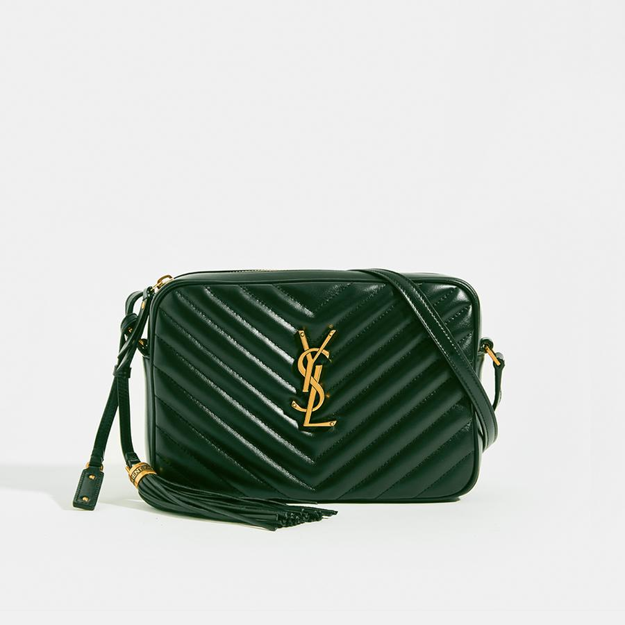 SAINT LAURENT Lou Camera Bag in Dark Green Matelassé Leather with strap and leather tassel detail