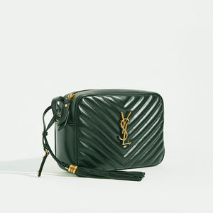 Side view of SAINT LAURENT Lou Camera Bag in Dark Green Matelassé Leather with Shoulder Strap and tassle