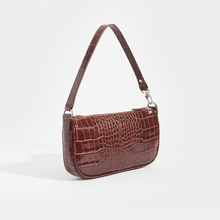 Load image into Gallery viewer, BY FAR Rachel Croc Embossed Bag in Brown Leather (Nutella)