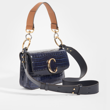 Load image into Gallery viewer, Side of CHLOÉ C Double Carry Shoulder Bag in Navy Croc Effect Leather