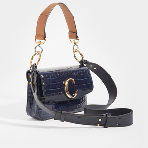 Side of CHLOÉ C Double Carry Shoulder Bag in Navy Croc Effect Leather