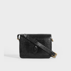SAINT LAURENT Le 61 Framed Small Saddle Bag in Mock-Croc Leather in Black