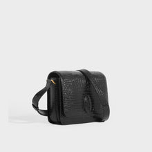 Load image into Gallery viewer, SAINT LAURENT Le 61 Framed Small Saddle Bag in Mock-Croc Leather in Black