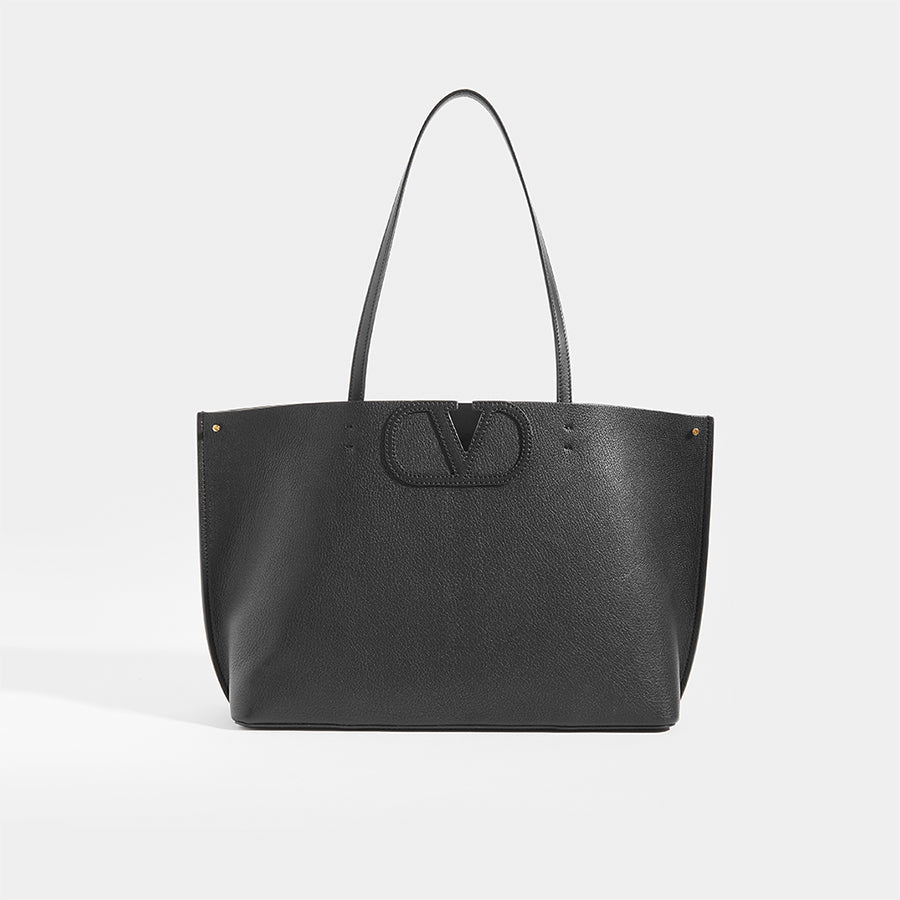 Front View of VALENTINO Garavani Fill Me Tote in Black Leather