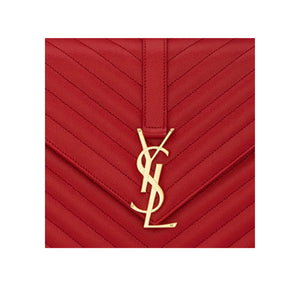 close up 'YSL' logo in gold hardware SAINT LAURENT Large Envelope Chain Bag
